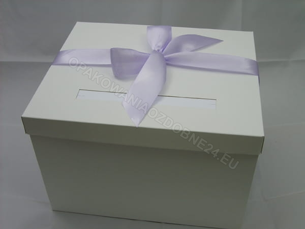 pudełko na koperty - fioletowa wstążka